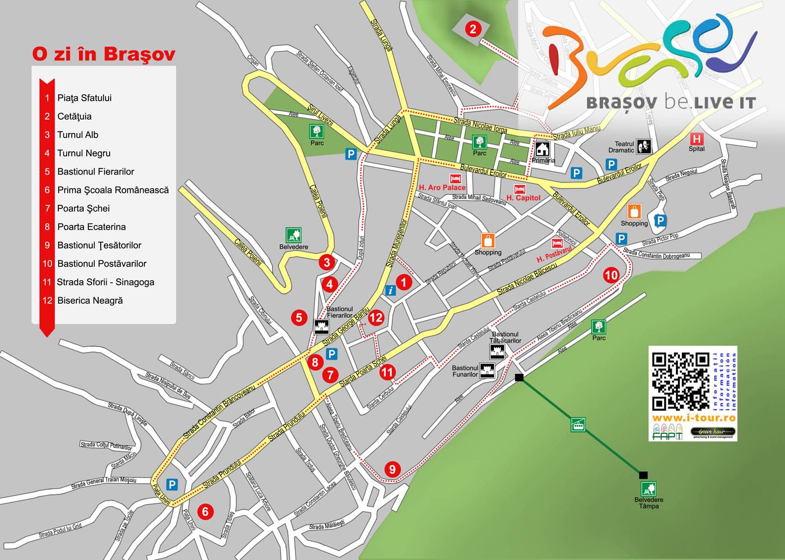 Harta centru Brasov, obiective turistice