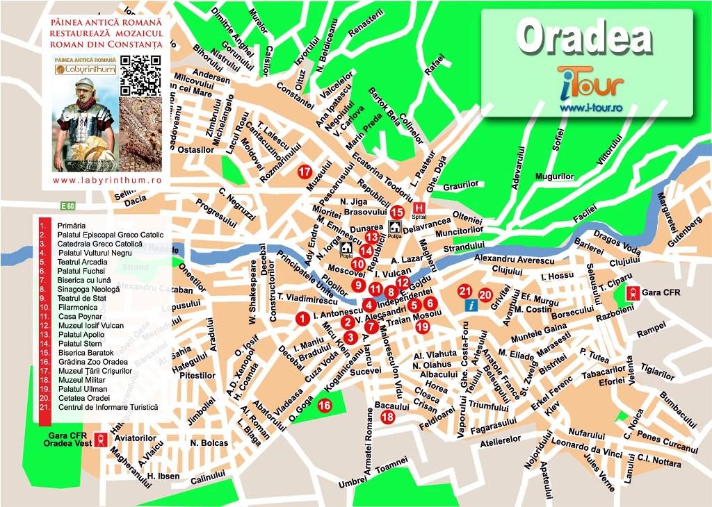 Harta Oradea obiective turistice