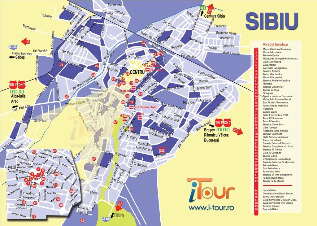 Harta Sibiu obiective turistice