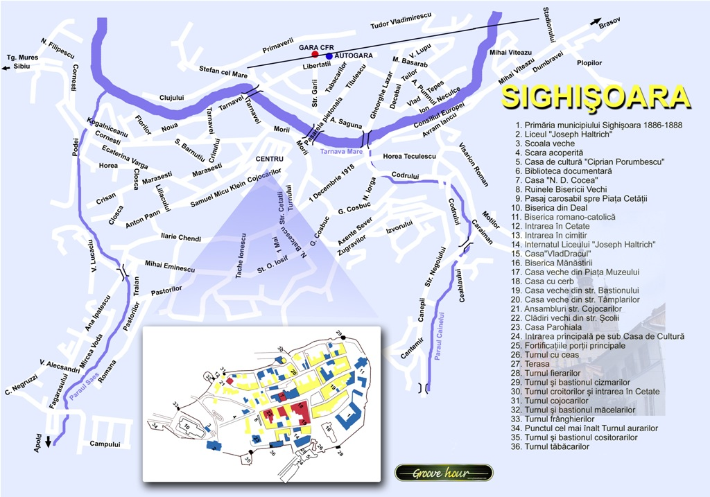 Harta Sighisoara obiective turistice
