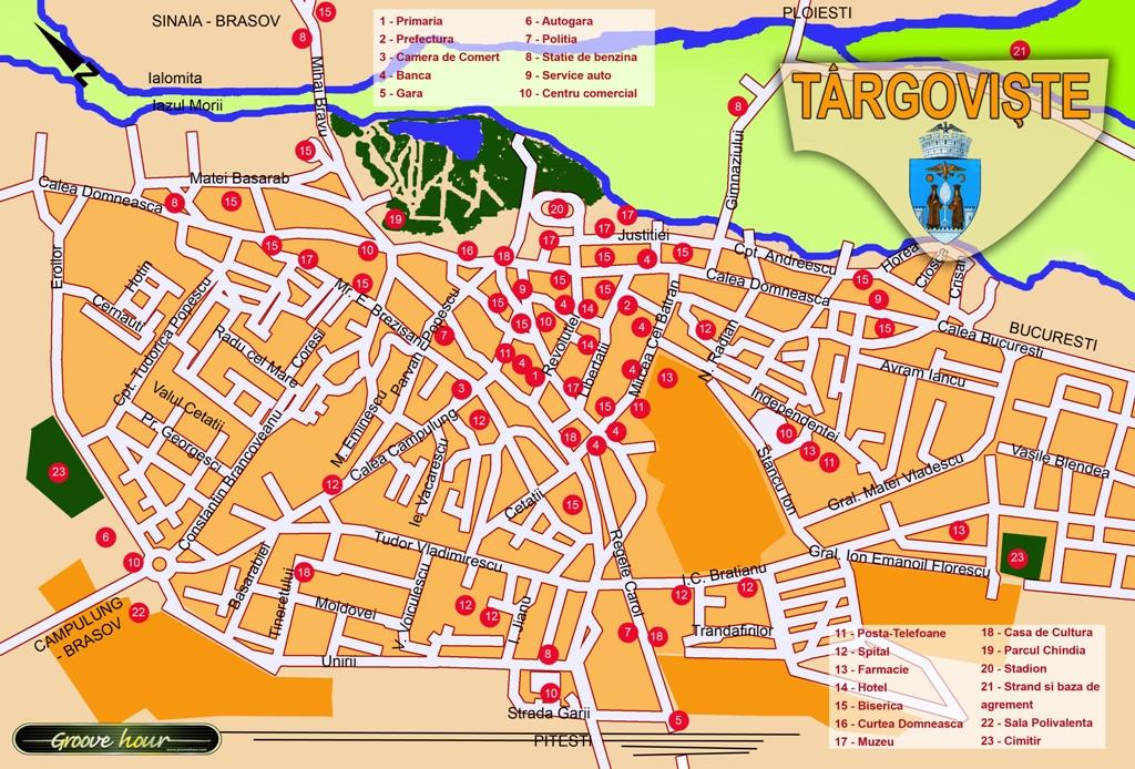 Harta Targoviste obiective turistice