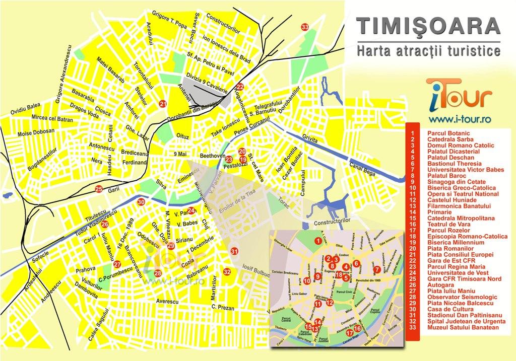 Harta Timisoara obiective turistice