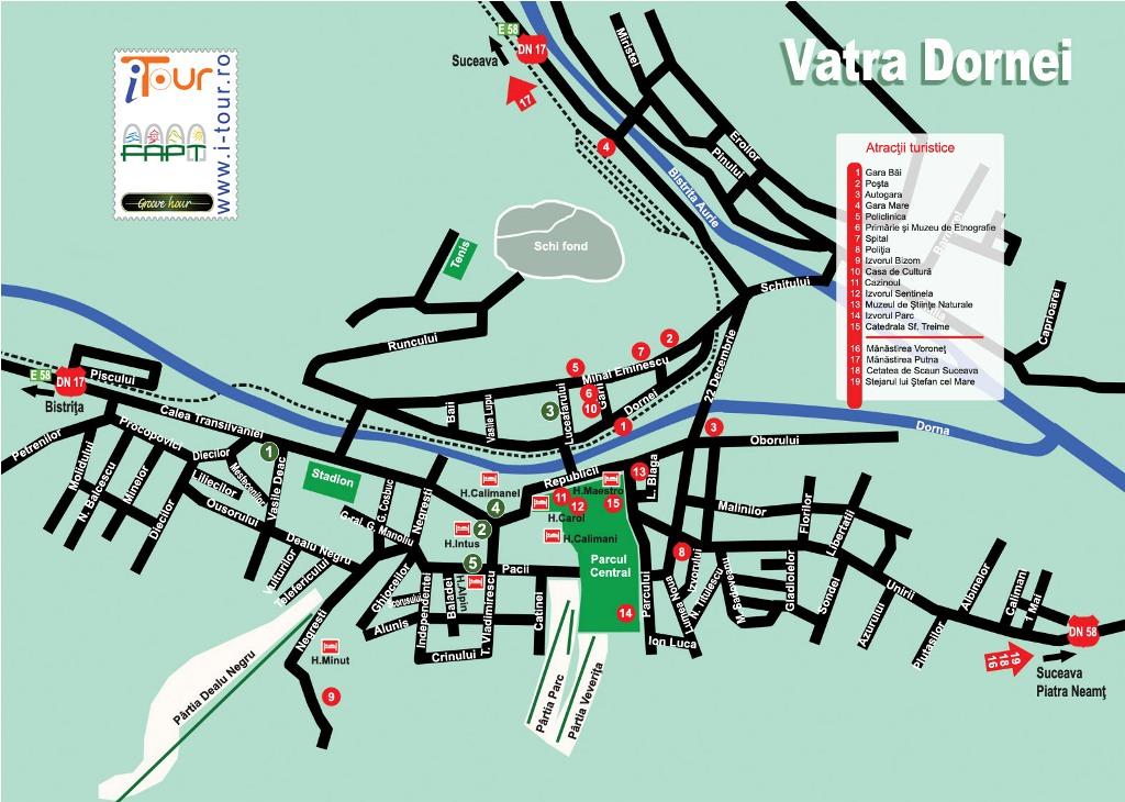 Harta Vatra Dornei obiective turistice