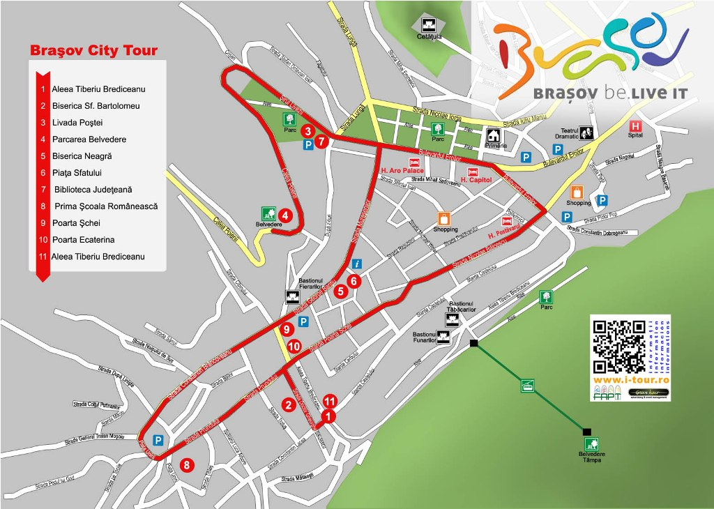Harta traseu Brasov City Tour