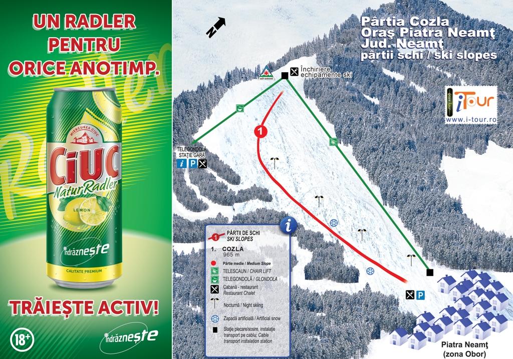 Harta partie schi Cozla, Piatra Neamt, Neamt