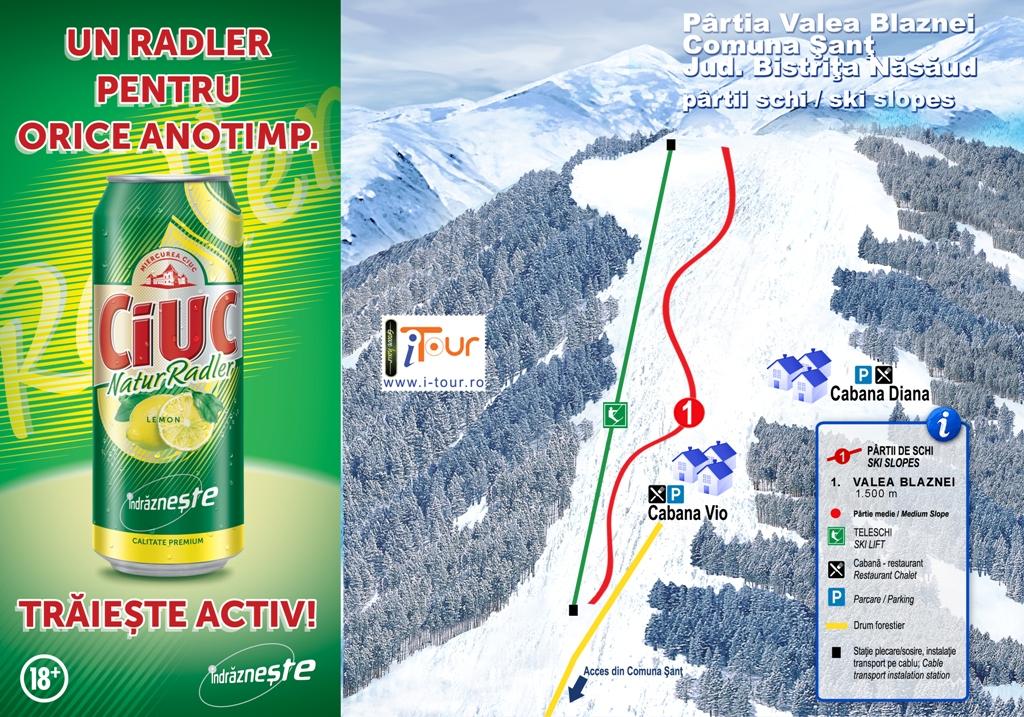 Harta partie schi Valea Blaznei, Sant, Bistrita-Nasaud