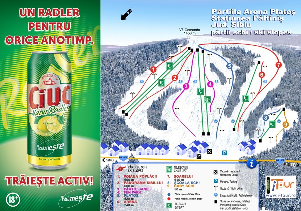 Harta partii schi Arena Platos, Sibiu