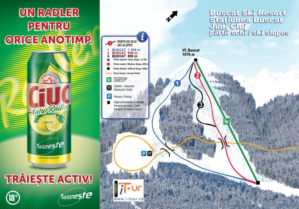 Harta partii schi Baisoara Buscat, Cluj