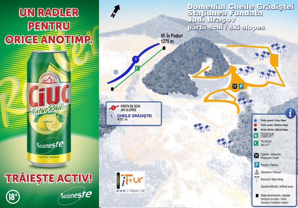 Harta partii schi Cheile Gradistei, Fundata Brasov
