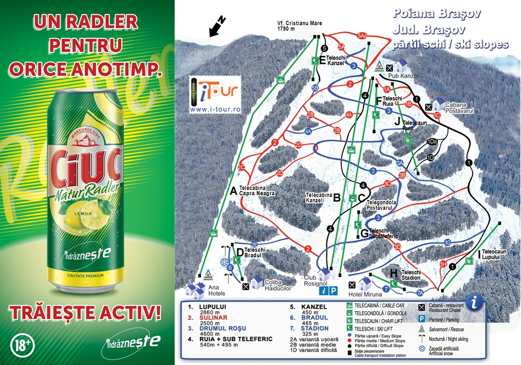 Harta partii schi Poiana Brasov, Brasov