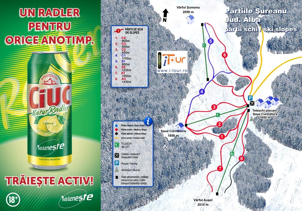 Harta partii schi Sureanu, Alba