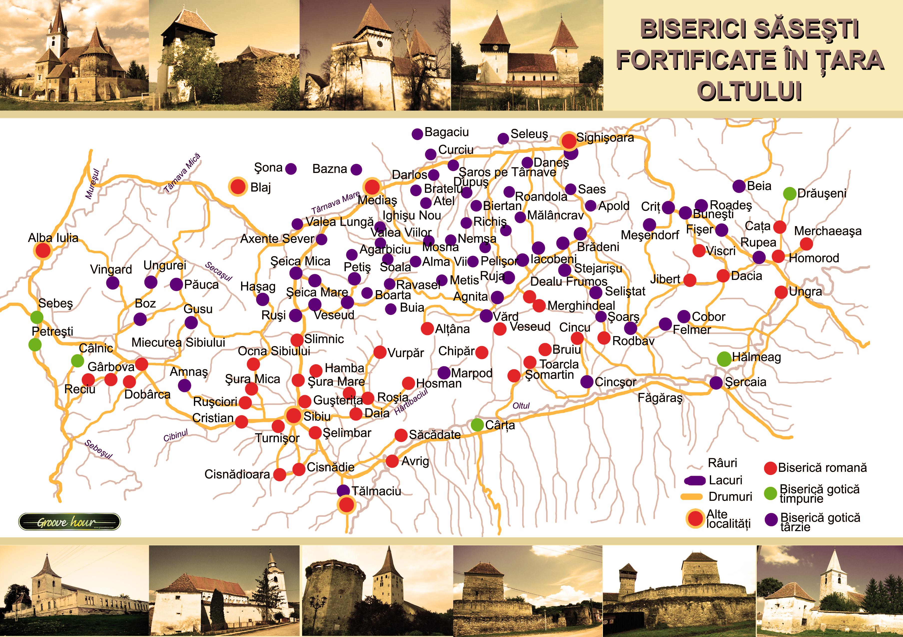 Biserici Sasesti in Transilvania Harta