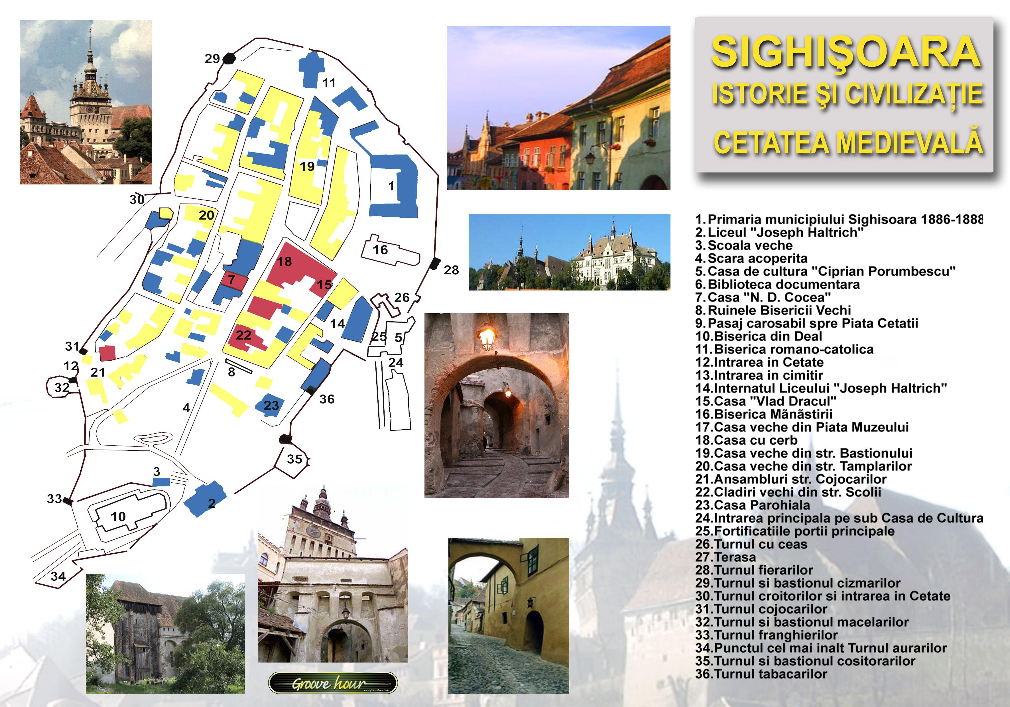 Sighisoara Harta Cetatii Medievale