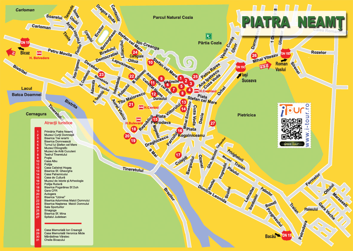 Harta Atractii Turistice Piatra Neamt