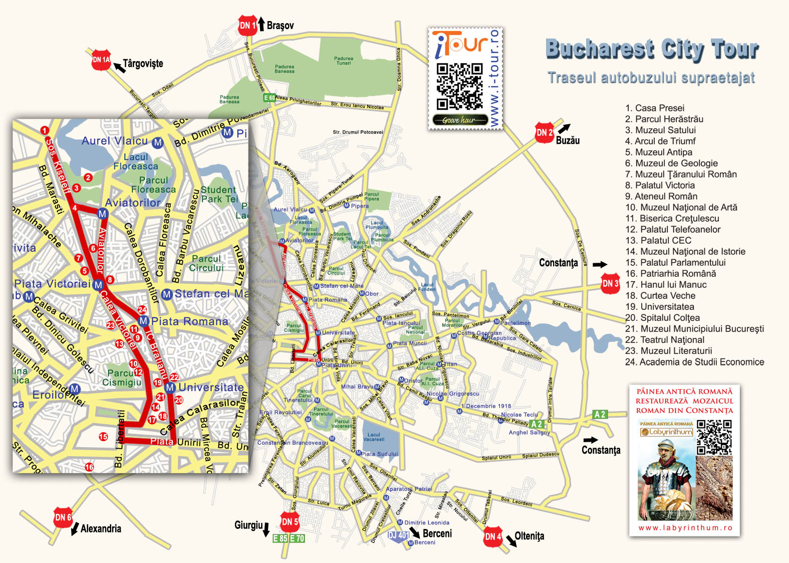 Bucharest City Tour, harta traseu autobuz suspendat
