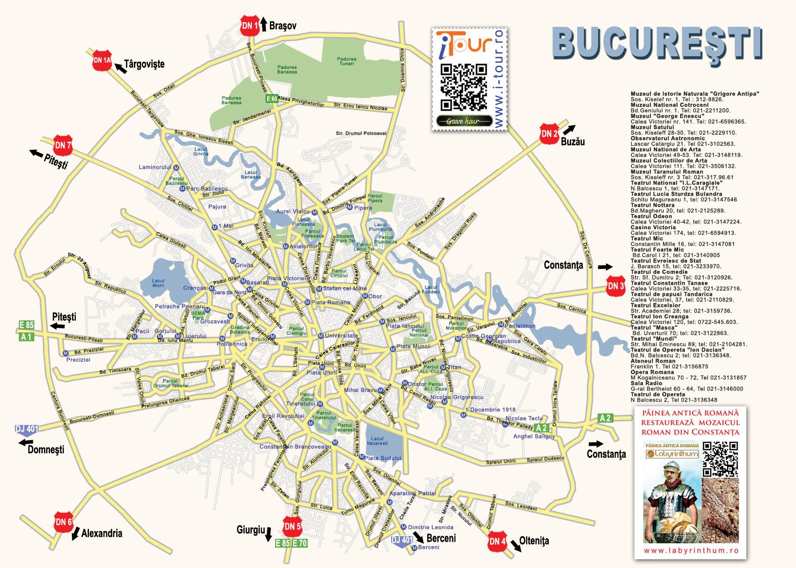 Bucuresti Harta Oras Obiective Turistice
