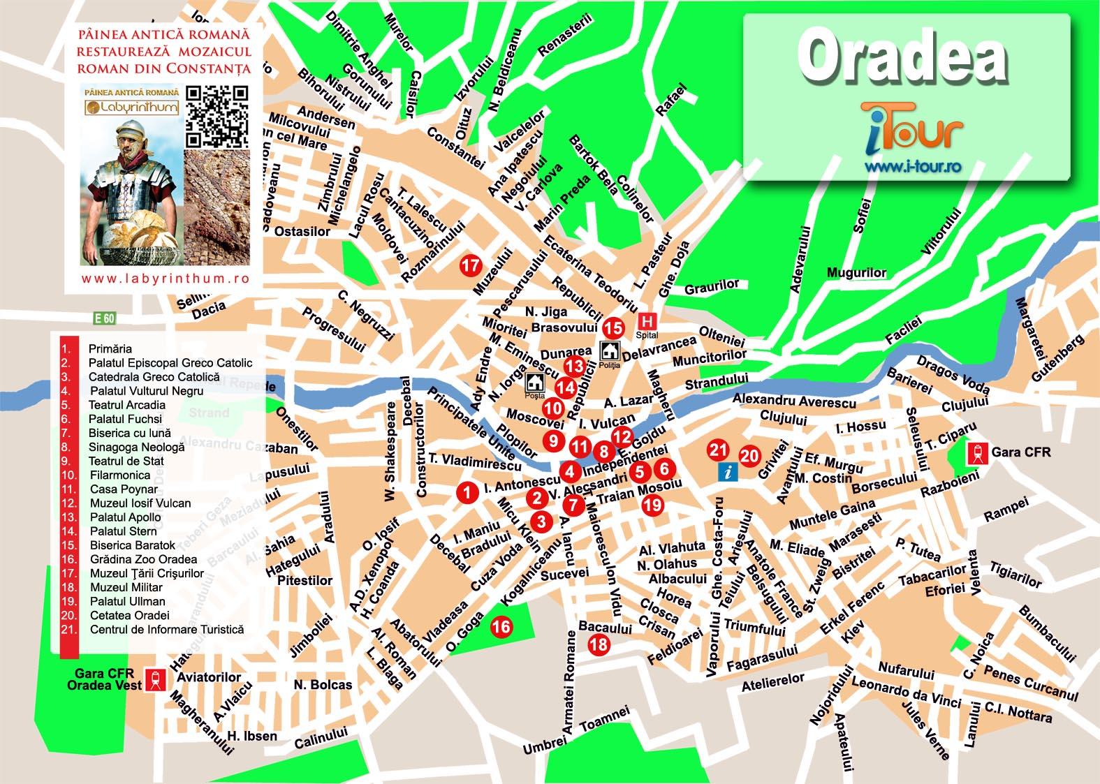 Harta Atractii Turistice Oradea 2011