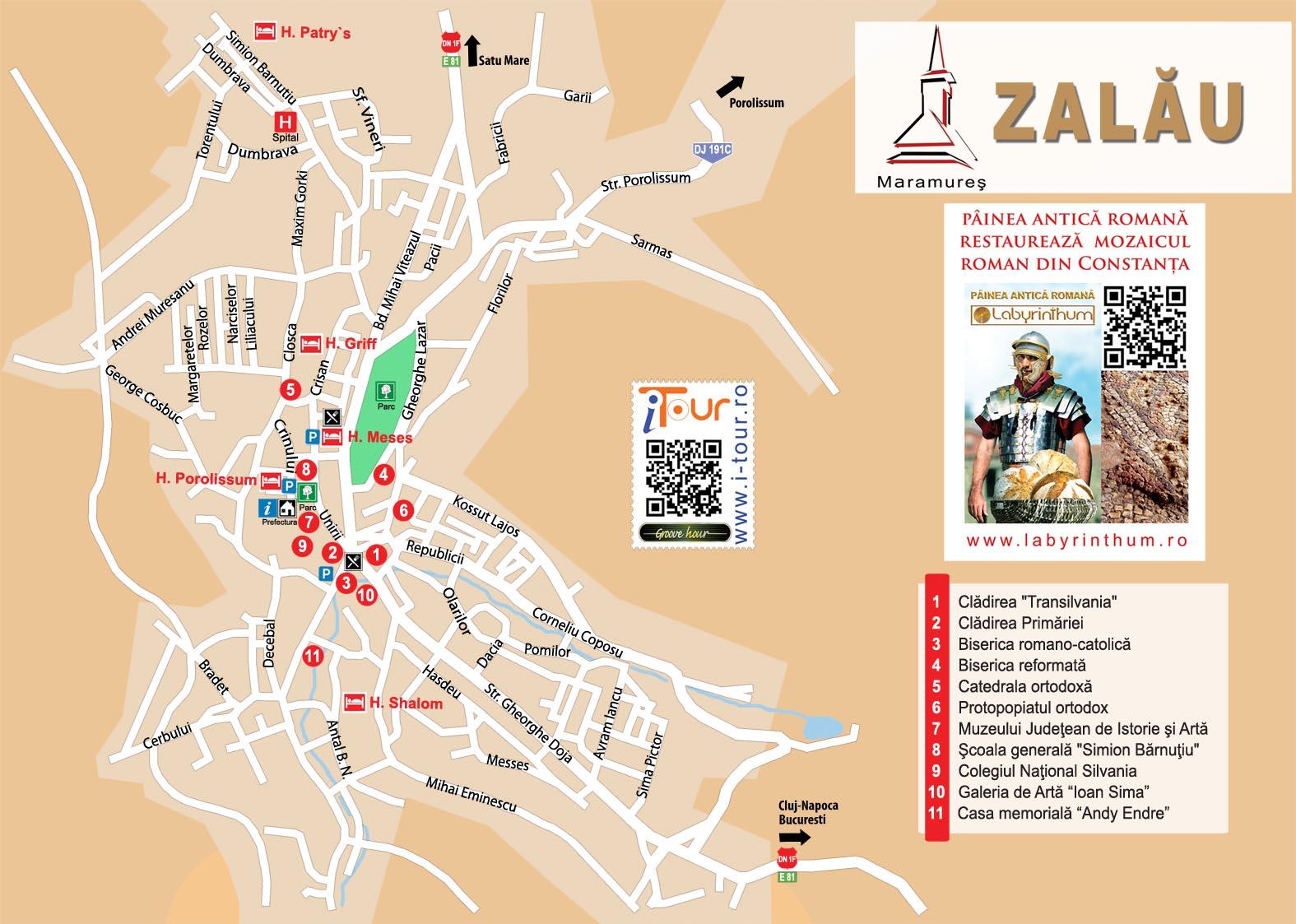 Harta Zalau, atractii turistice