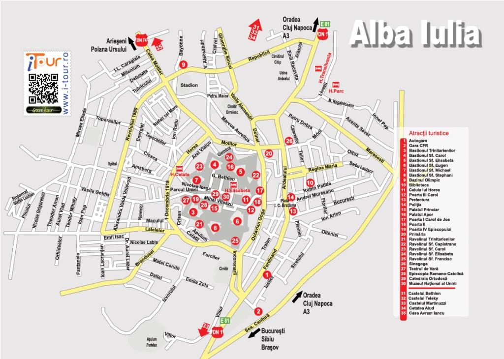 Harta Alba Iulia obiective turistice