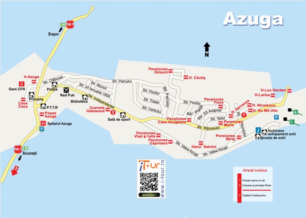 Harta Azuga obiective turistice