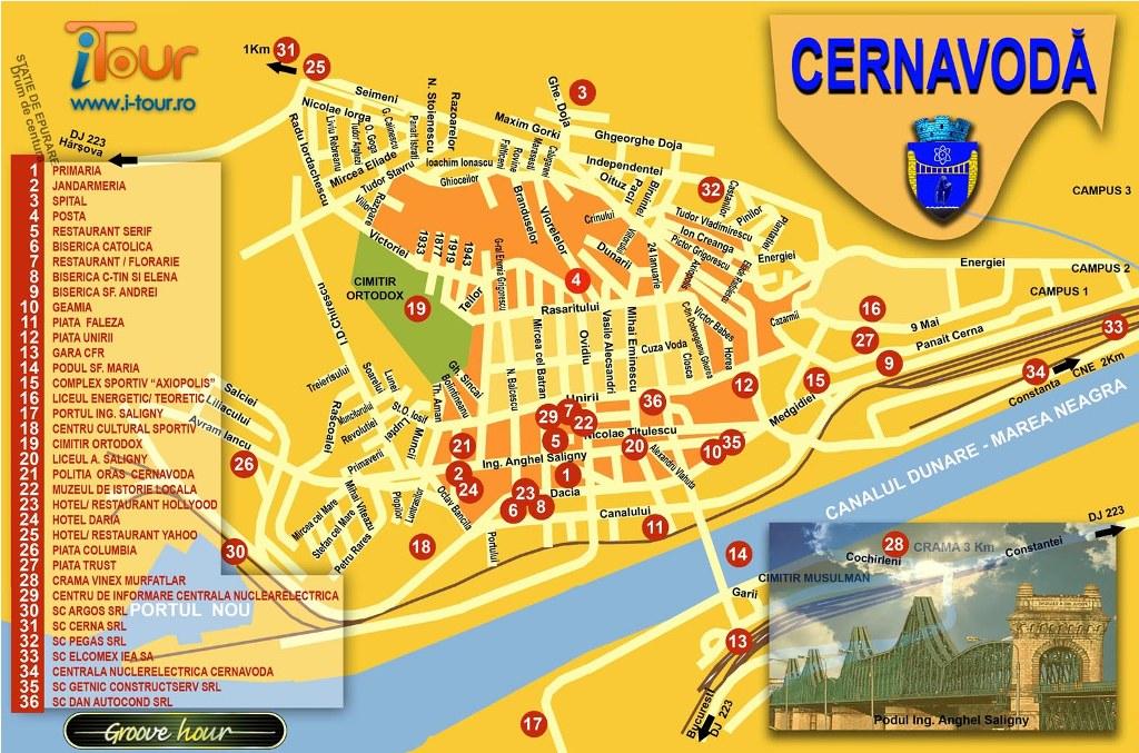 Harta Cernavoda obiective turistice
