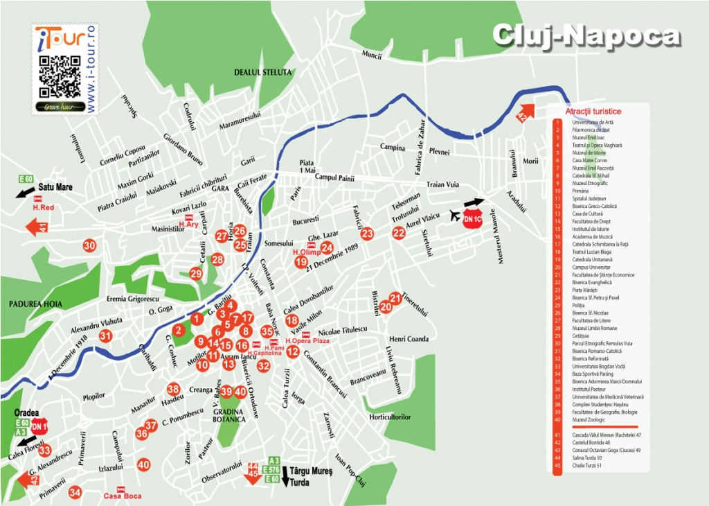 Harta Cluj-Napoca obiective turistice