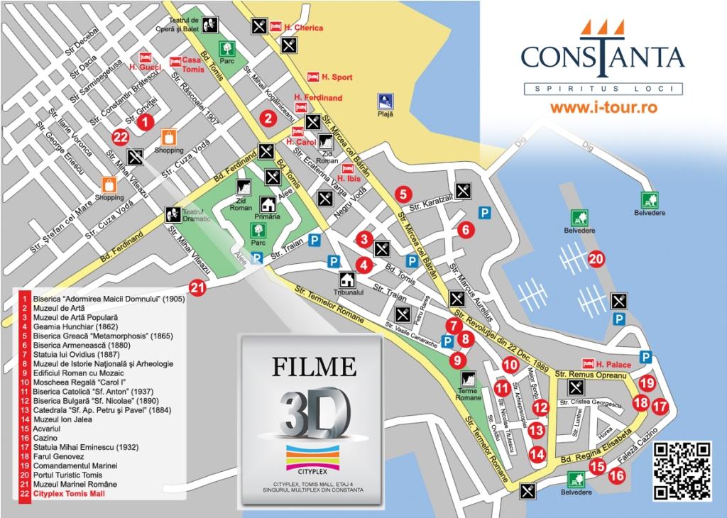 Harta Constanta centru vechi obiective turistice