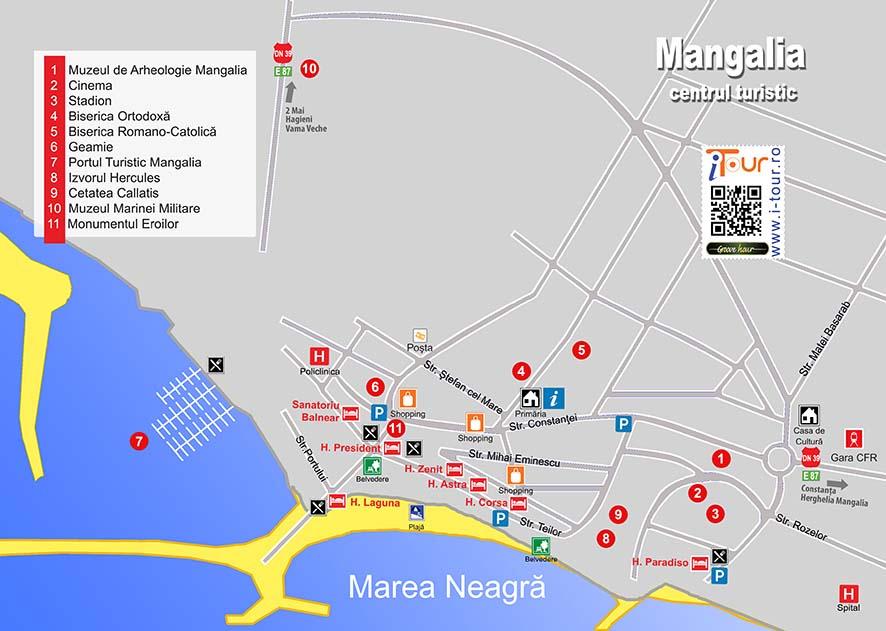 Harta Mangalia obiective turistice