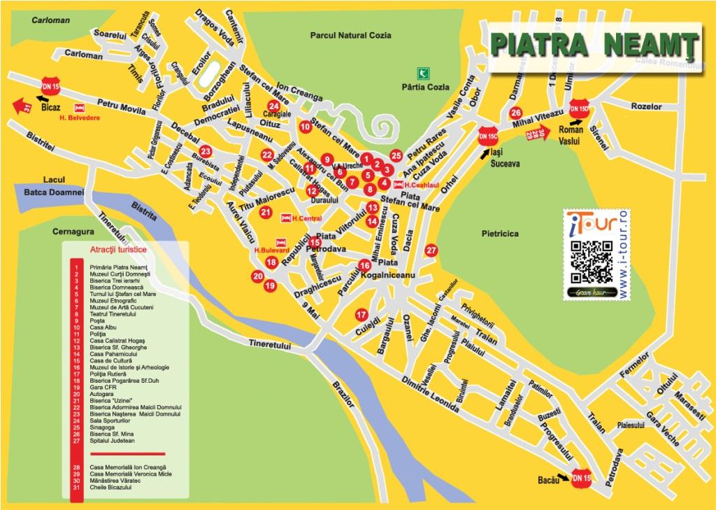 Harta Piatra Neamt obiective turistice