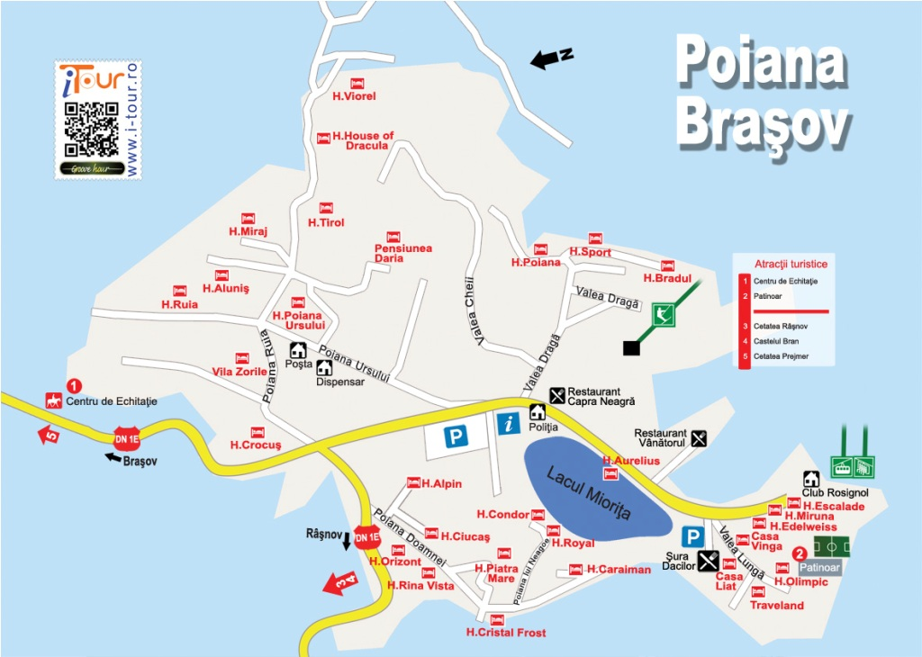 Harta Poiana Brasov obiective turistice
