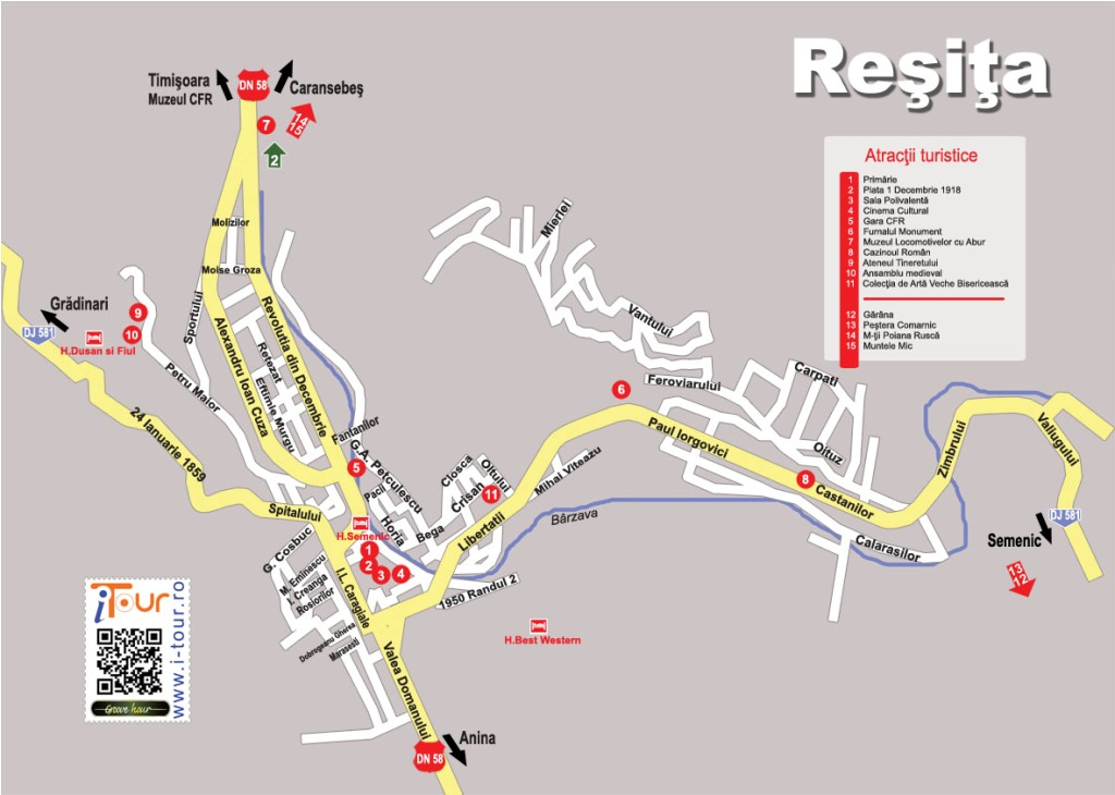 Harta Resita obiective turistice
