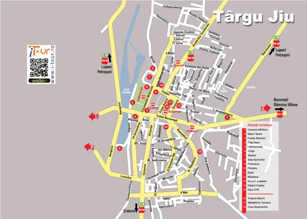 Harta Targu Jiu obiective turistice