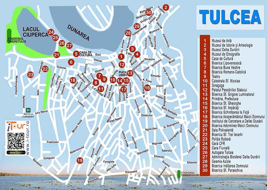 Harta Tulcea obiective turistice