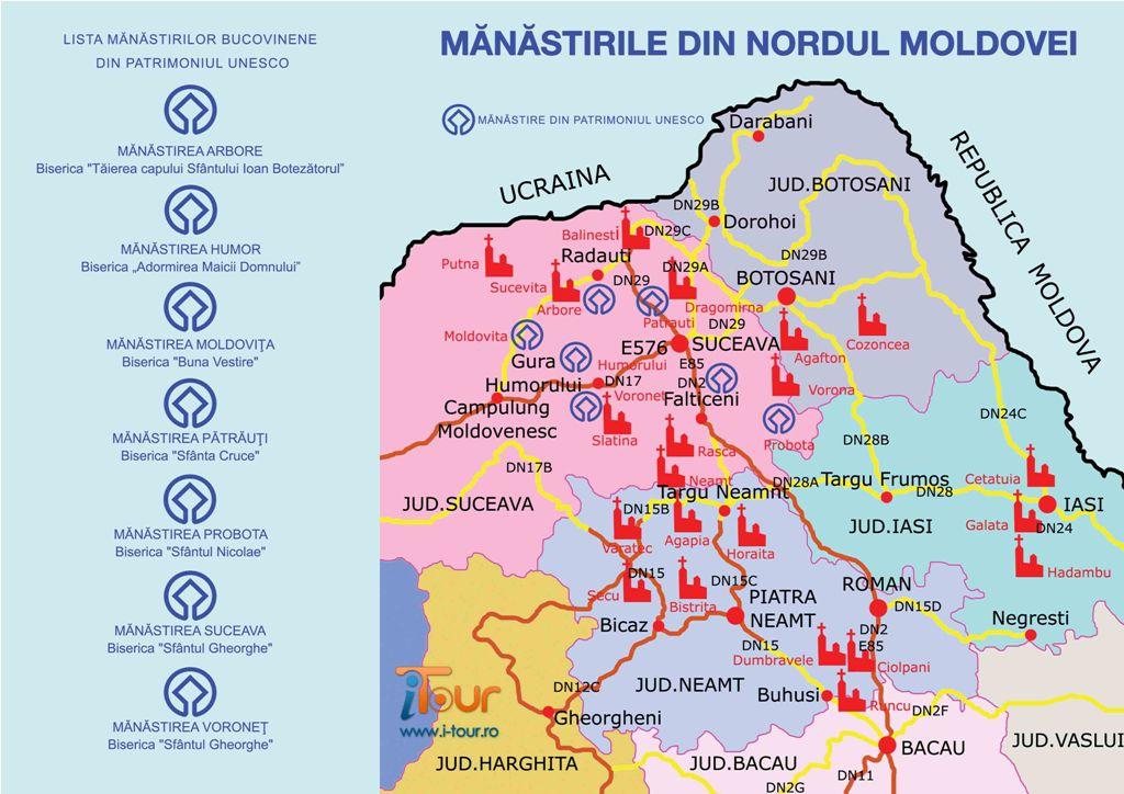 Harta Harta Manastirilor Moldova