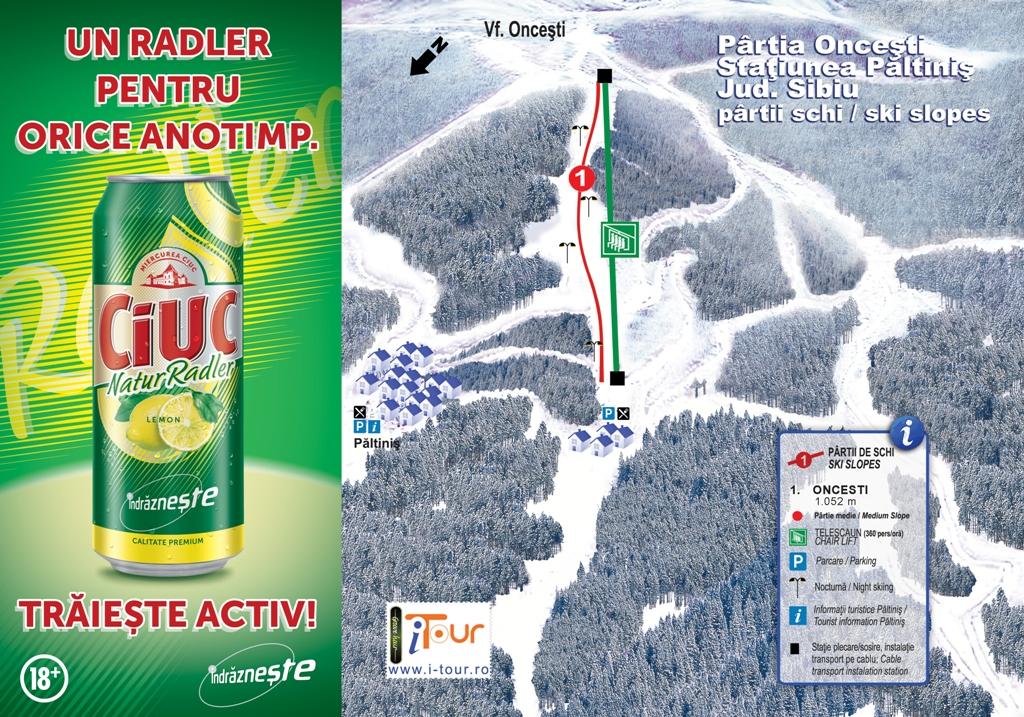 Harta partie schi Oncesti, Paltinis, Sibiu