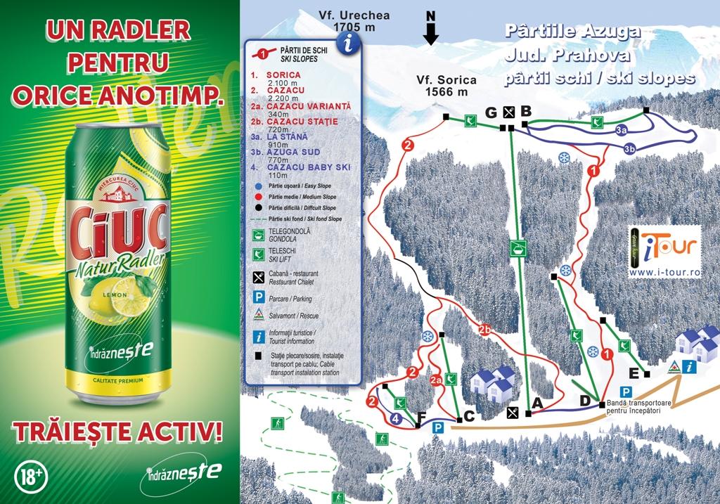 Harta partii schi Azuga, Prahova
