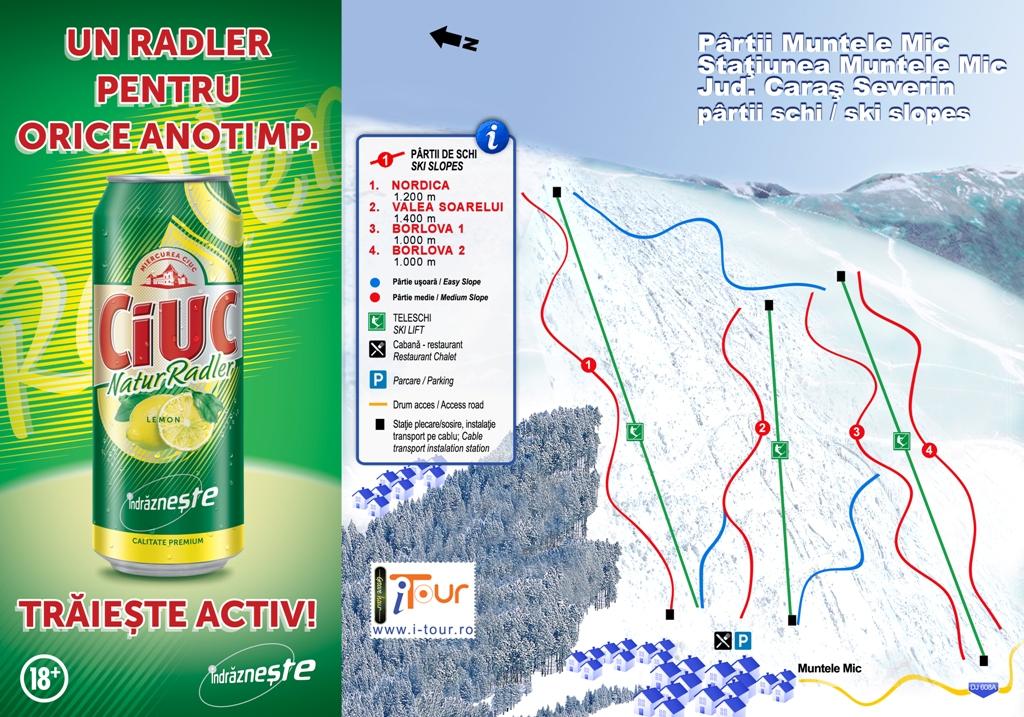 Harta partii schi Muntele Mic, Caras-Severin
