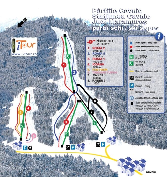 Harta partii schi Cavnic, Maramures