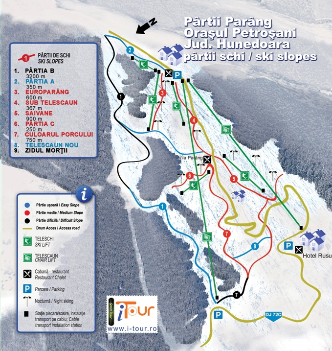 Harta partii schi Parang, Hunedoara
